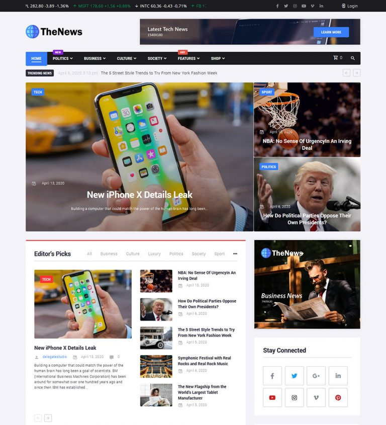 Thenews Business And Political News Ready Made WordPress Blog Website Theme