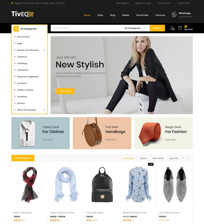 Tiveq Multi Store Online eCommerce Ready Made WooCommerce Website Theme