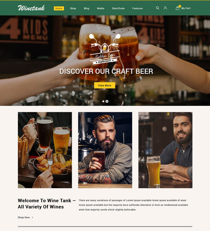 Winetank Liquor Wine And Beer eCommerce Store Ready Made WooCommerce Website Theme