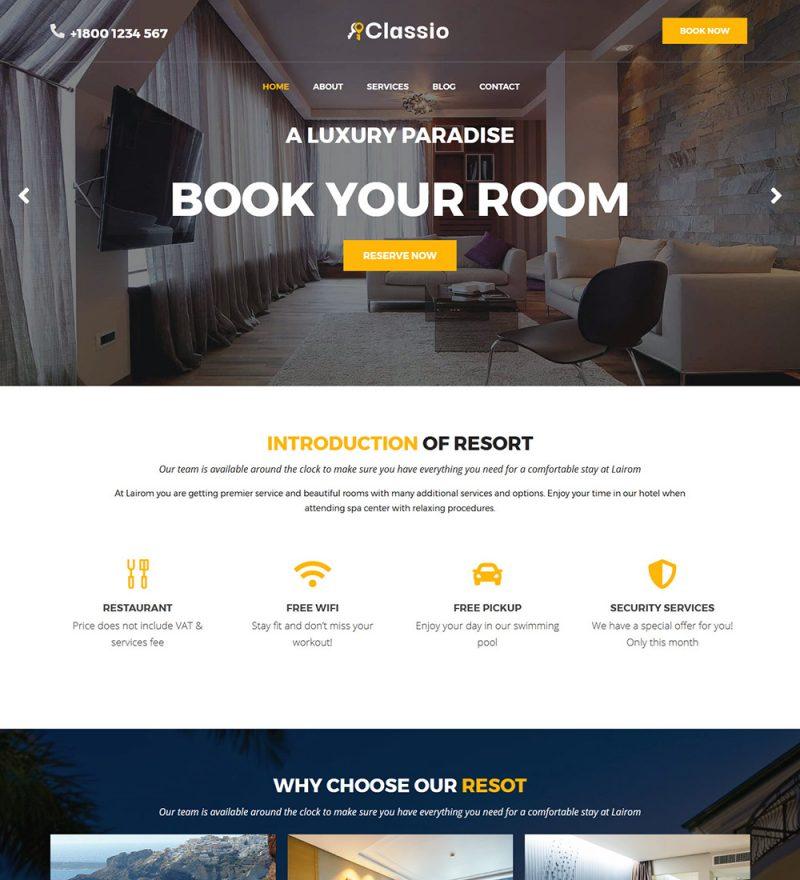 Classio Hotel And Resort Ready Made WordPress Website Theme