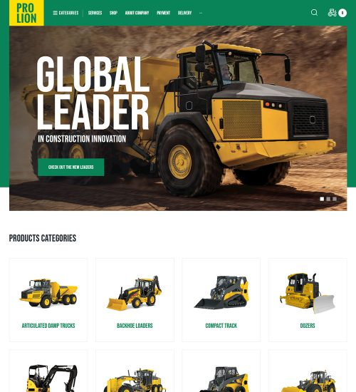 Prolion Construction Heavy Equipment And Vehicles Ready Made WordPress Website Theme