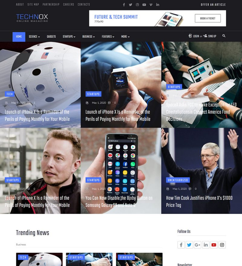 Technox Technology News Ready To Use WordPress Blog Website Theme