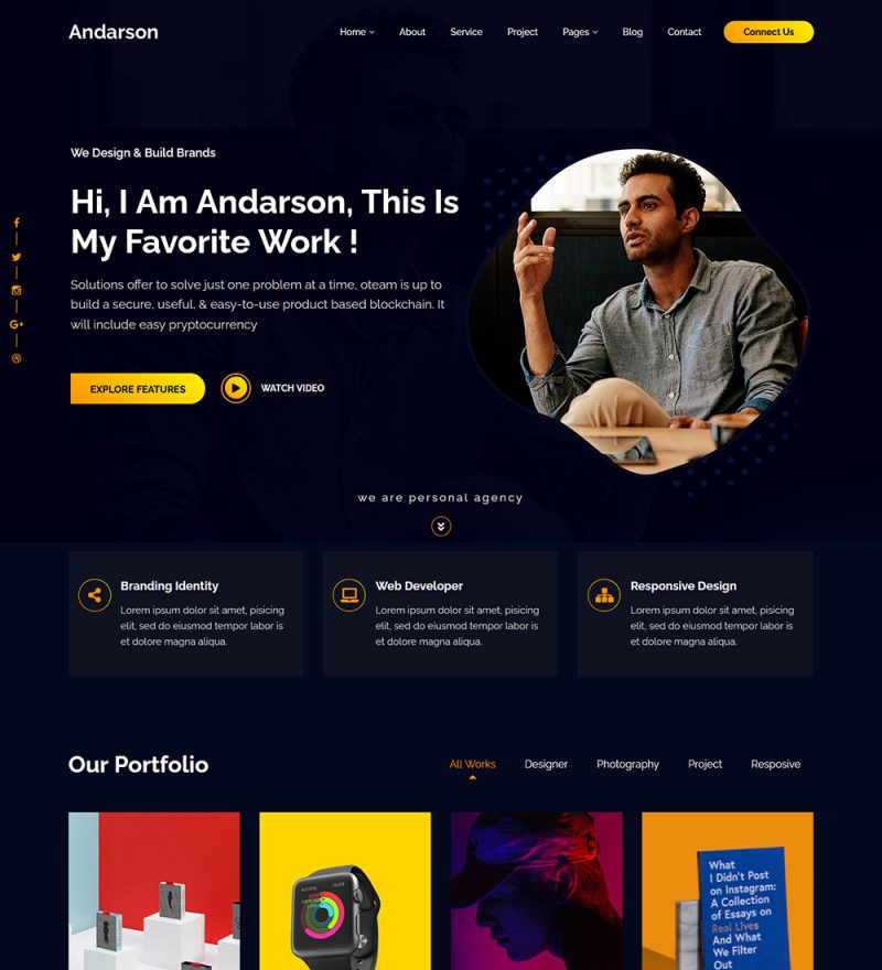 Andarson Personal Resume And Portfolio Ready Made WordPress Theme Website