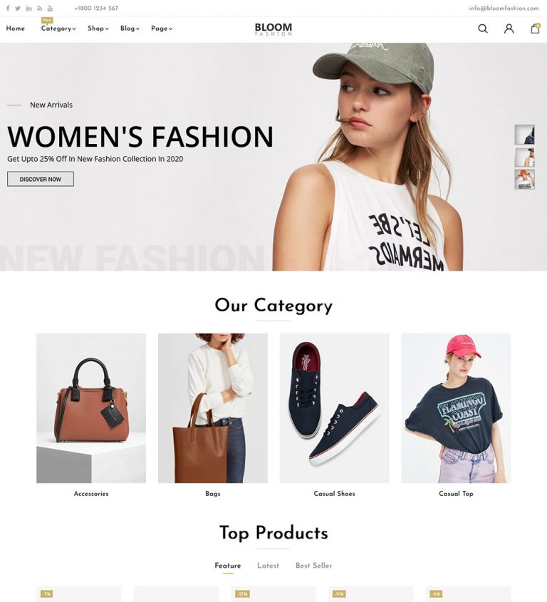 Bloom Online Fashion Cloth ecommerce Store Ready Made WooCommerce Website Theme
