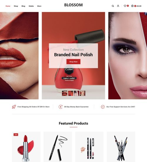Blossom Beauty Cosmetic Products Online eCommerce Store Ready Made WooCommerce Website Theme