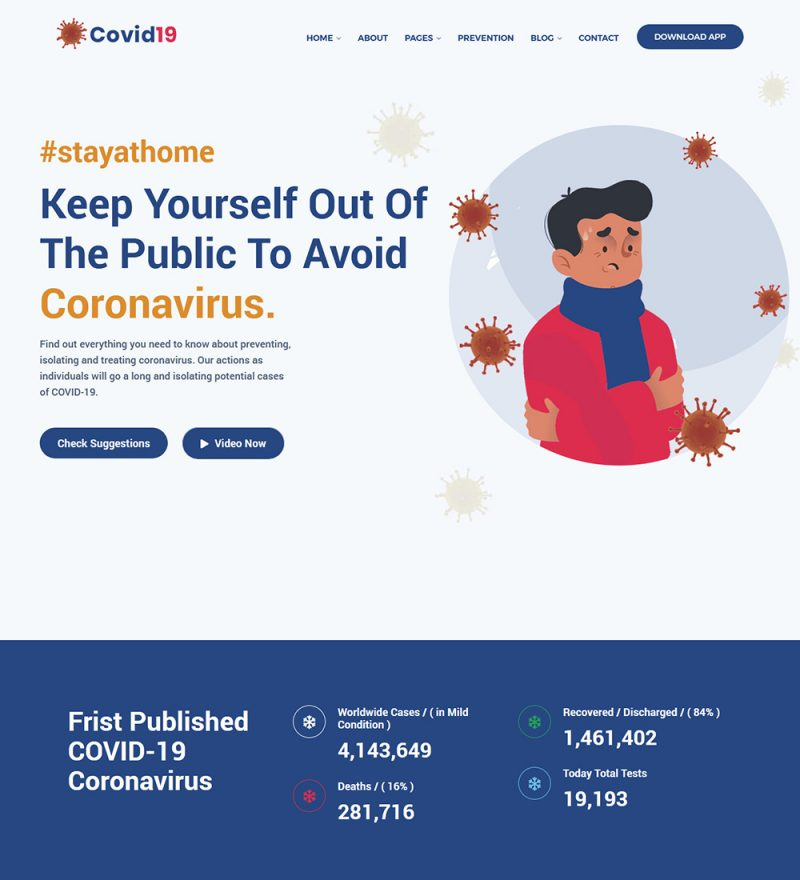 Covid19 Coronavirus Paramedical Doctors Medical Prevention Ready Made WordPress Website Theme