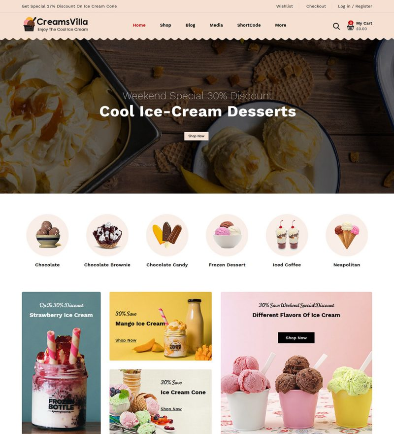 CreamsVilla Ice Cream Online eCommerce Store Ready Made WooCommerce Website Theme