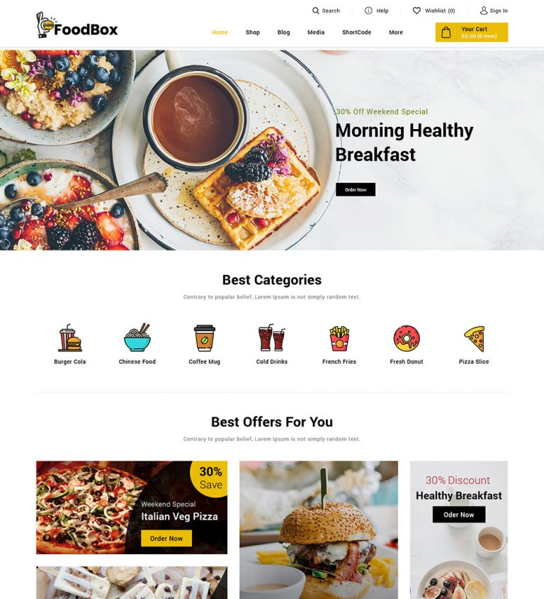 Food Box Online Food Delivery Restaurant eCommerce Store Ready Made WooCommerce Website Theme