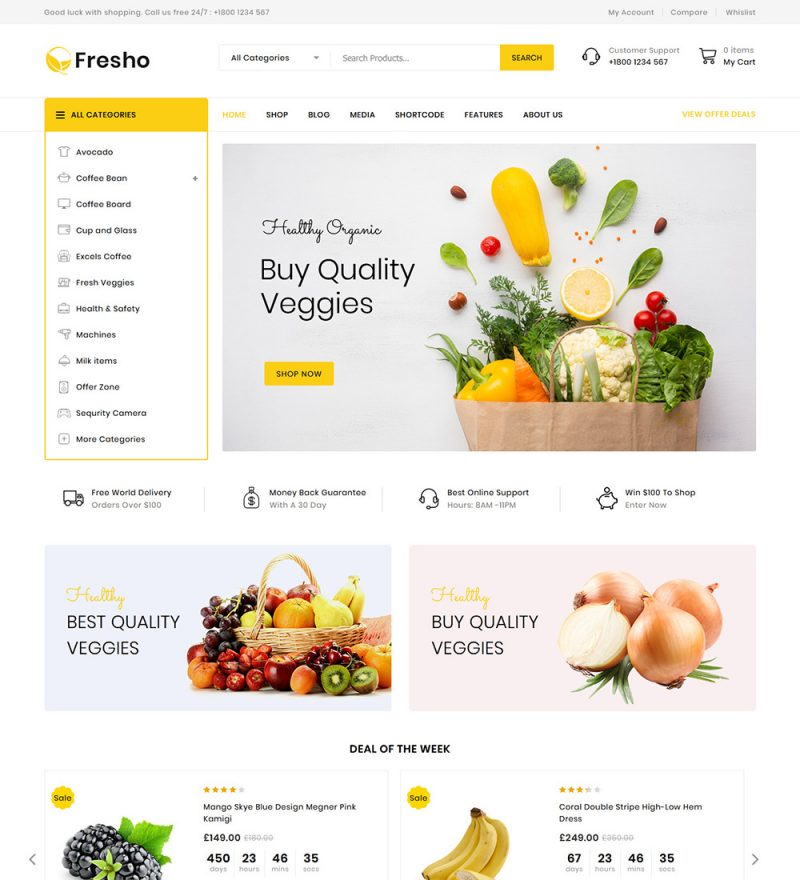 Fresho Food And Vegetables Grocery Online Store eCommerce Ready Made WooCommerce Website Theme
