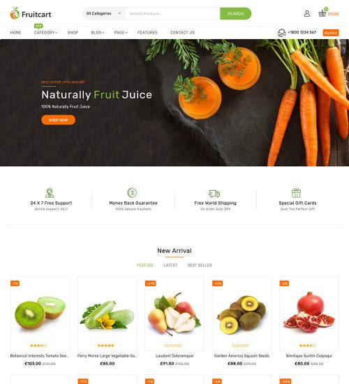Fruitcart Fruit Food Grocery Online eCommerce Store WooCommerce Theme