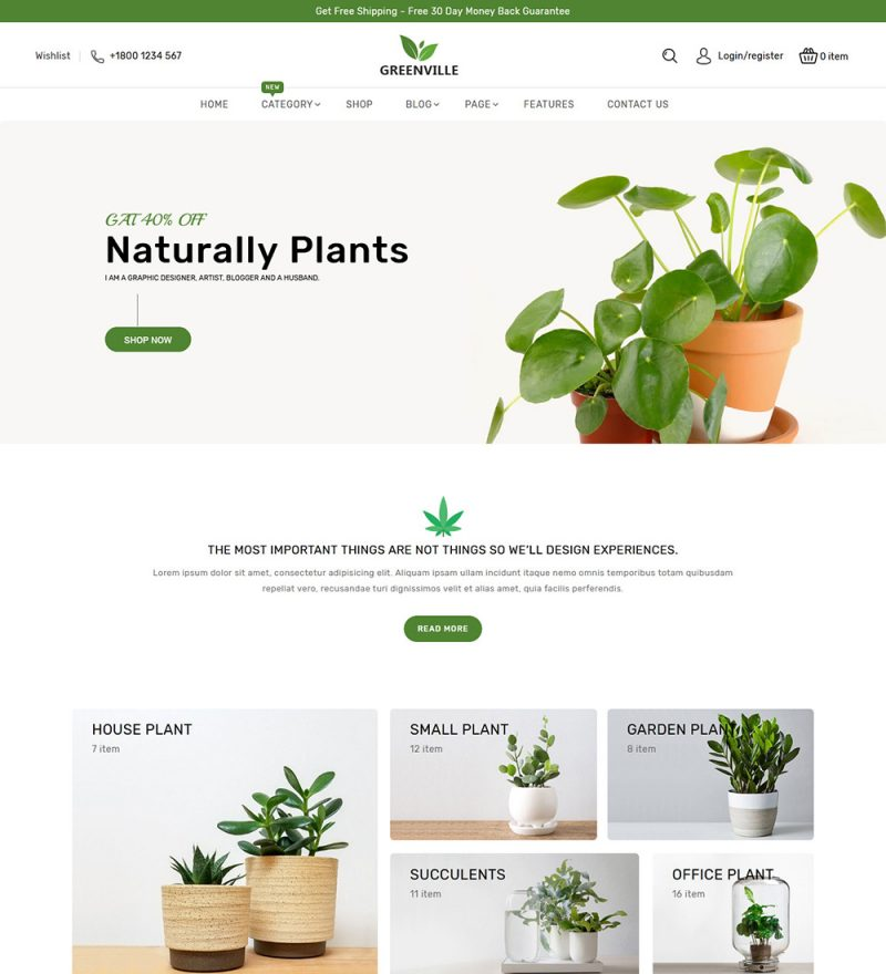 GreenVille Organic Plants Gardening Online eCommerce Store WooCommerce Theme Website