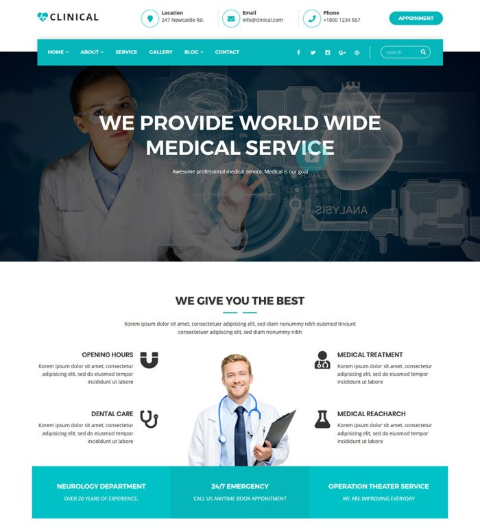Clinical Medical Hospital Health Services Clinic Ready Made WordPress Website Theme