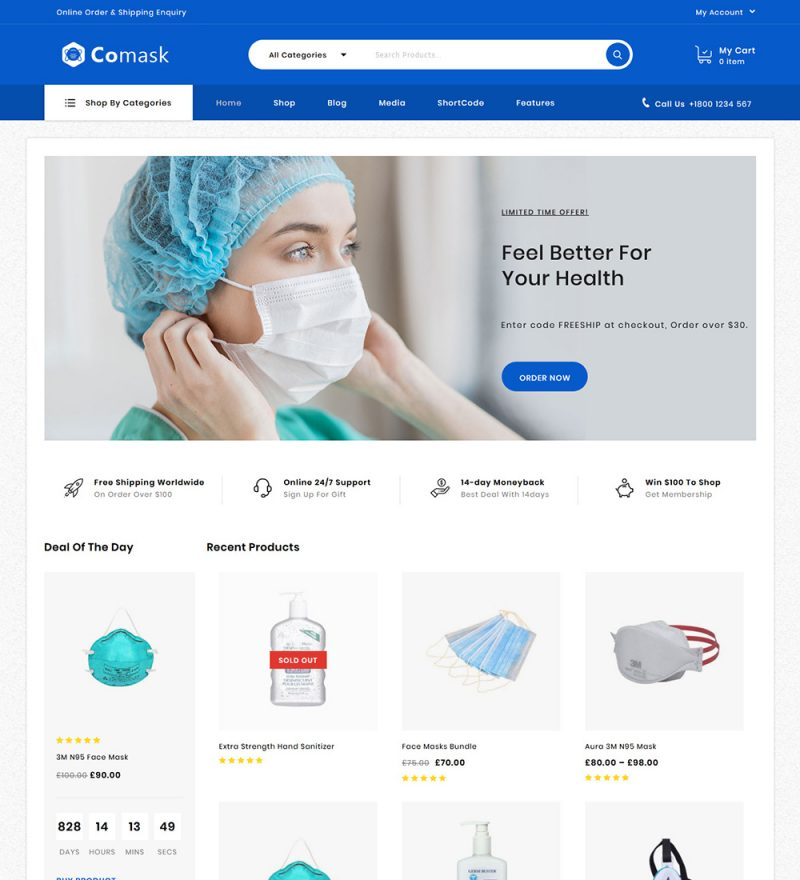 Comask Corona Virus Online Mask Senetizer Medical Products eCommerce Store Ready Made WooCommerce Website Theme