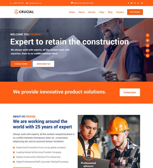 Crucial Construction Architecture Company Ready Made WordPress Website Theme