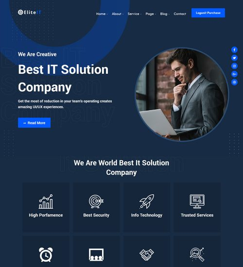 Elite Digital IT Solutions Company Ready Made WordPress Website Theme