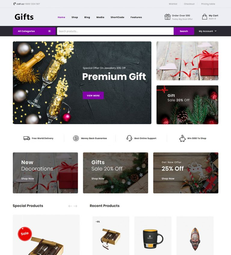 Gifts Online Gift Items eCommerce Store Ready Made WooCommerce Website Theme