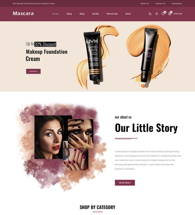 Mascara Cometic Products Online eCommerce Store Ready Made WooCommerce Website Theme
