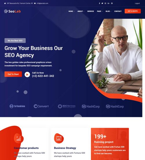 SeoLab Online Seo Digital Marketing Agency Ready Made WordPress Website Theme