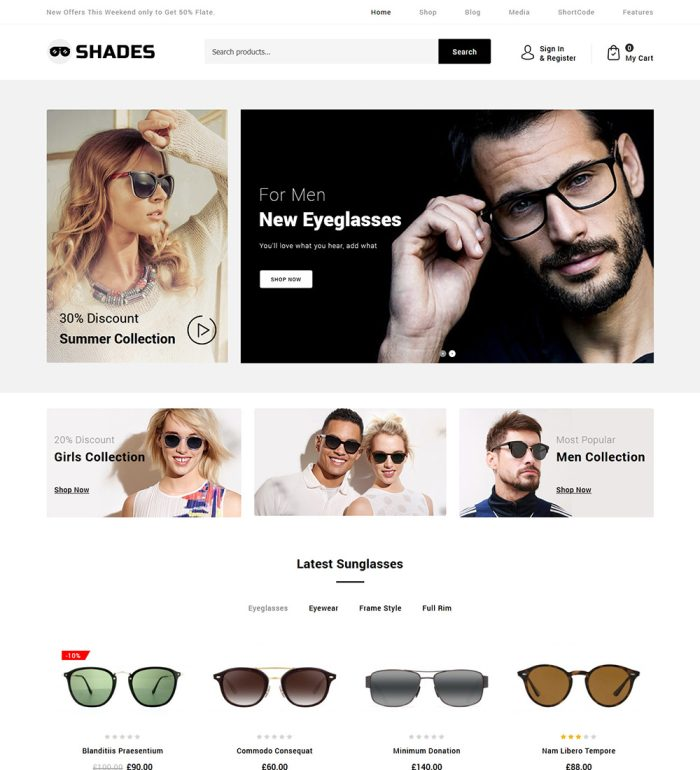 Shades Contact Lenses and Sunglasses Online eCommerce Store Ready Made WooCommerce Website Theme