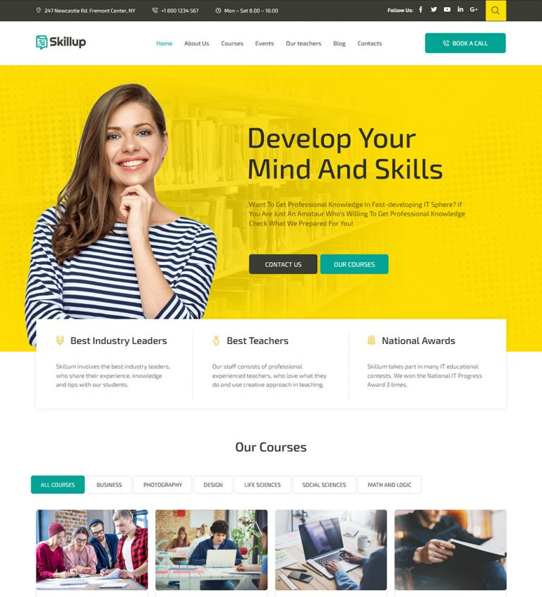 Skillup Learning Online Courses Education Ready Made WordPress Website Theme
