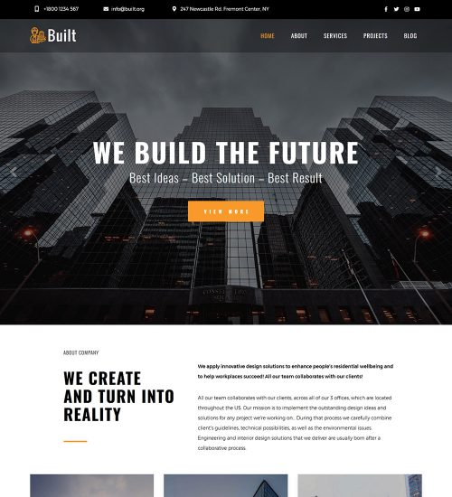 Built Architectural Bureau Engineering Company Ready Made WordPress Website Theme