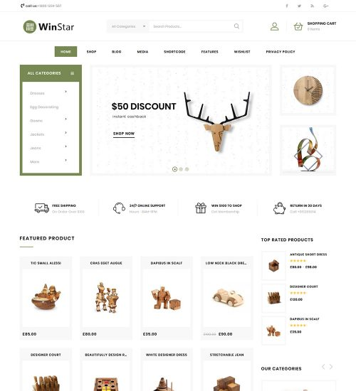 Winstar Online Home Decor Products eCommerce Store Ready Made WooCommerce Website Theme