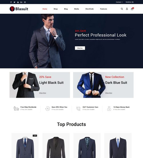 Blasuit Suits Blazers Online Store Ready Made WooCommerce Website Theme