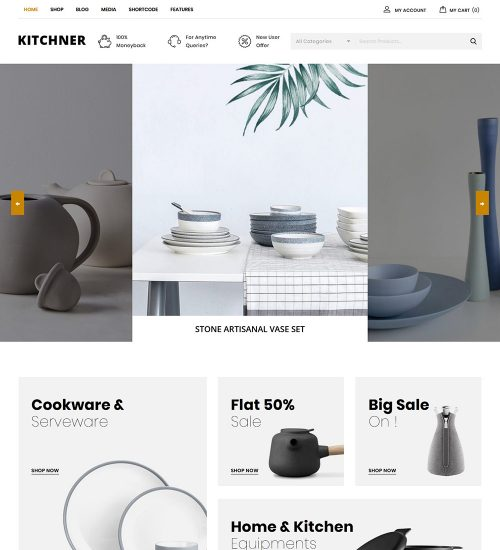 Kitchner Kitchen Equipment Items Online eCommerce Store Ready Made WooCommerce Website Theme