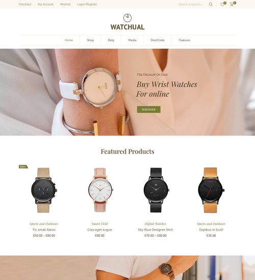 Watchual Watch Shop Online eCommerce Store Ready Made WooCommerce Website Theme