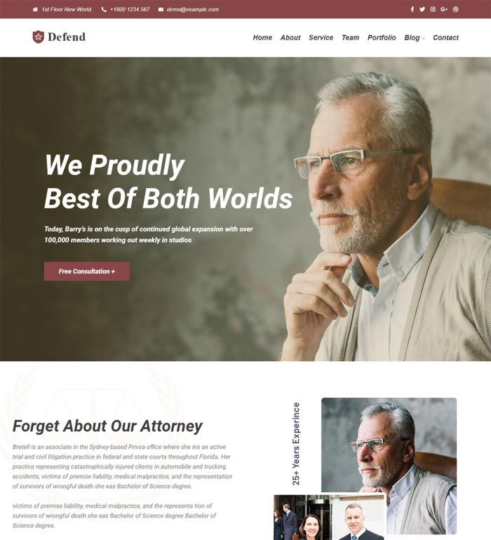 Defend Lawyer Law Firm Responsive Ready Made WordPress Website Theme